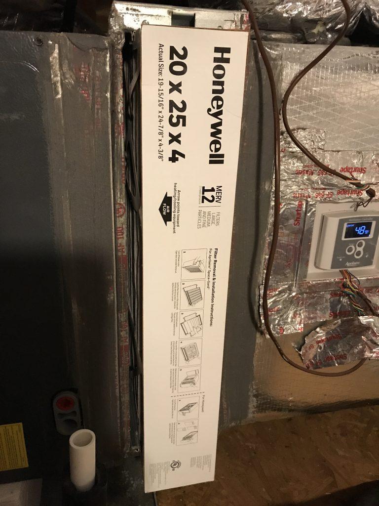 dirty air filter at the air handler in attic